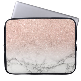 Modern faux rose pink glitter ombre white marble laptop computer sleeve
