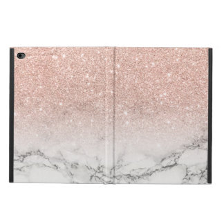 Modern faux rose pink glitter ombre white marble powis iPad air 2 case
