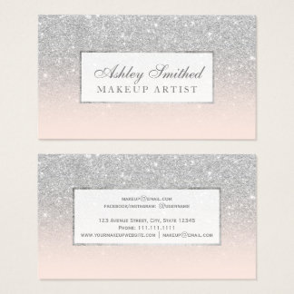 Modern faux silver glitter blush ombre makeup business card