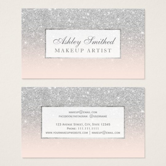 Modern faux silver glitter blush ombre makeup business