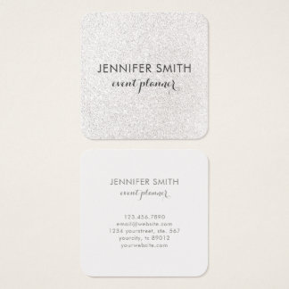 Modern Faux Silver Glitter Elegant Professional Square Business Card