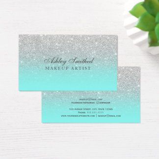 Modern faux silver glitter teal ocean makeup business card