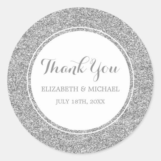 Modern Faux Silver Glitter Wedding Thank You Classic