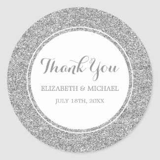 Modern Faux Silver Glitter Wedding Thank You Round Sticker