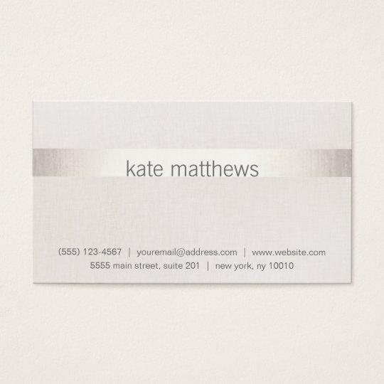 Modern Faux Silver Stripe on Linen Business Card
