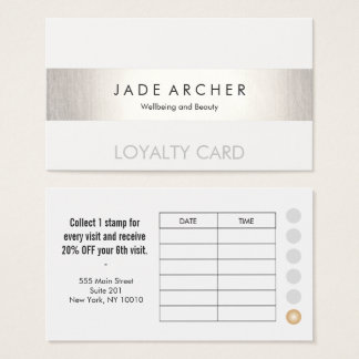 Modern FAUX Silver Striped Customer Loyalty Card