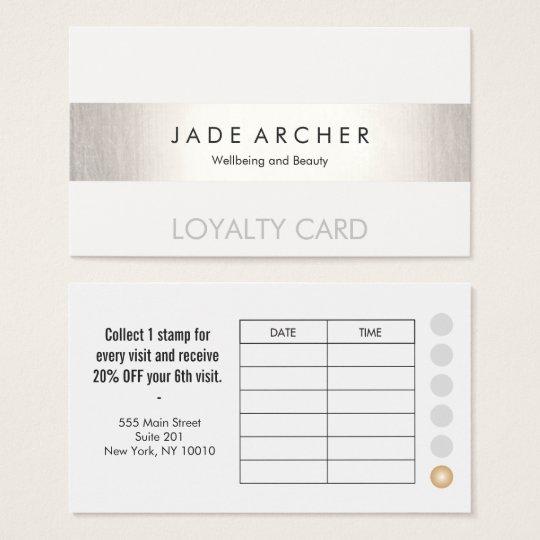 Modern FAUX Silver Striped Customer Loyalty Card