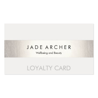 Modern FAUX Silver Striped Customer Loyalty Card Pack Of Standard Business Cards