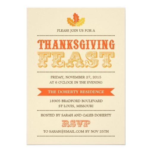 Modern Feast Thanksgiving Dinner Invitation Invite