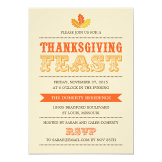 Modern Feast Thanksgiving Dinner Invitation