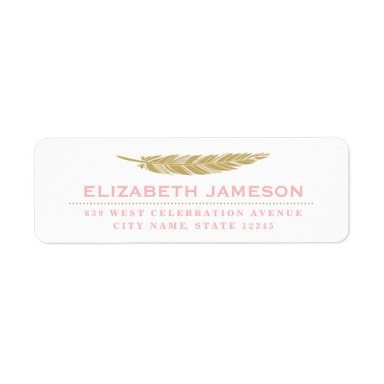 Modern Feather Return Address Label