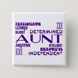 Modern Feminine Chic & Stylish Aunties & Aunts 15 Cm Square Badge