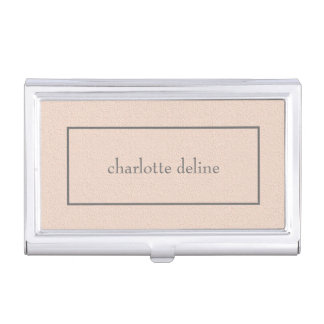 Modern Feminine Chic Texture Pale Pink Beauty Business Card Holder