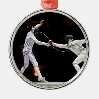 Modern Fencing Sword Fighting Dual Silver-Colored Round Decoration