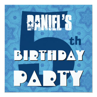 Modern Fifth Birthday Five Year Big Blue Stars Card