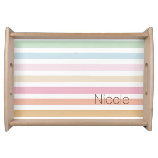 modern fine pastel color monogram serving tray