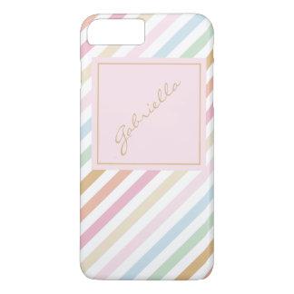 modern fine pastel colors monogram iPhone 7 plus case