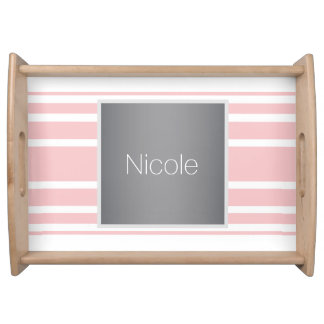 modern fine pink pastel color monogram serving platters