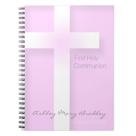 Modern First Holy Communion in Pink Guest Book