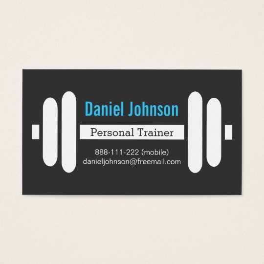 Modern Fitness Personal Trainer Weights Black Business Card