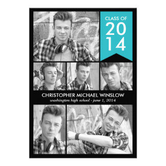 Modern Flag Graduation Invitation - Turquoise Personalized Announcements