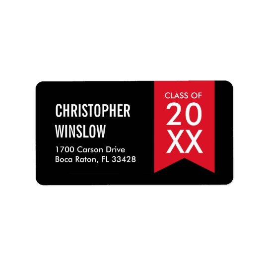 Modern Flag Graduation Labels - Red