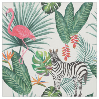 Modern flamingo zebra tropical leaf watercolor fabric