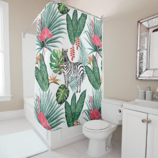 Modern flamingo zebra tropical leaf watercolor shower curtain