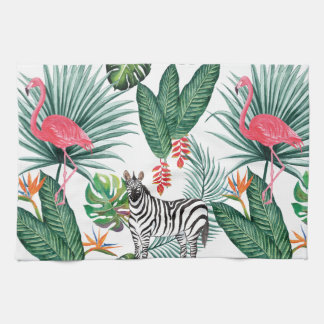 Modern flamingo zebra tropical leaf watercolor tea towel