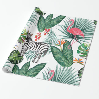 Modern flamingo zebra tropical leaf watercolor wrapping paper