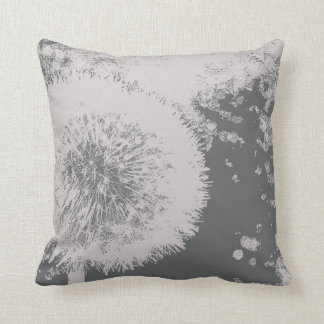 Modern floral abstract Dandelion flower gray white Cushion