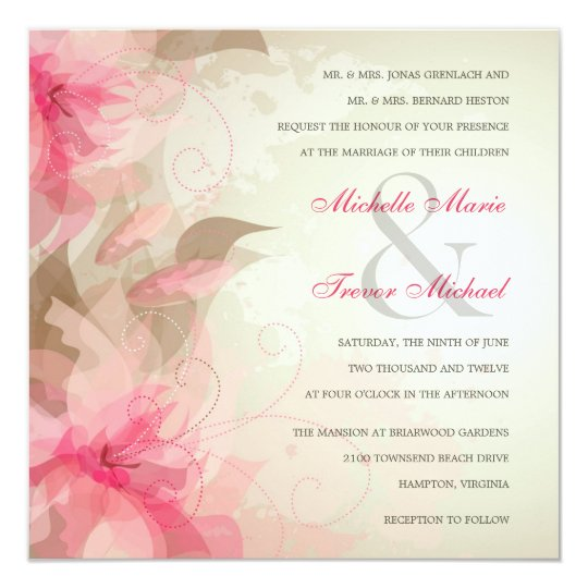 Modern Floral Abstract Wedding Invitations
