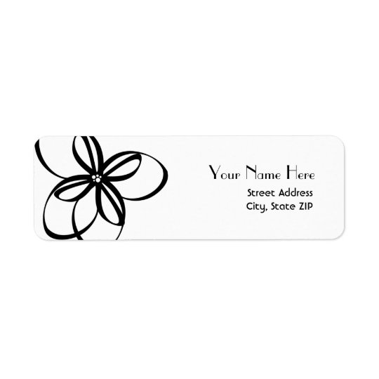 Modern Floral Address Label Black And White