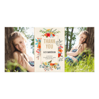 Modern Floral and Gold Graduation Thank You Card