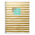 Modern Floral Aqua and Gold Foil Stripes Notebook