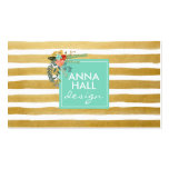 Modern Floral Aqua and Gold Foil Stripes Pack Of Standard Business Cards