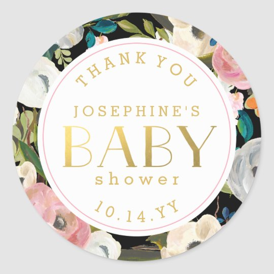 Modern Floral Baby Shower Thank You Stickers