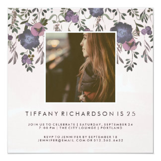 Modern Floral Birthday Party | Photo Card