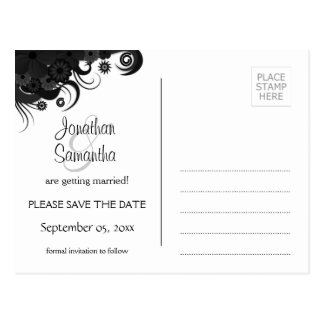 Modern Floral Black and White Goth Save The Date Postcard