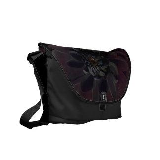 Modern Floral Black Dahlia Flower Messenger Bag