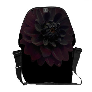 Modern Floral Black Dahlia Flower Messenger Bag