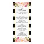 Modern Floral Black White Striped | Wedding Menu Full Color Rack Card