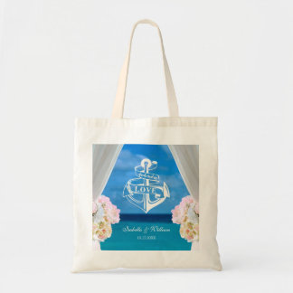 Modern Floral Blue Ocean Beach Wedding Favor Tote Bag