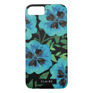 Modern Floral   Blue Watercolor Personalized iPhone 7 Case