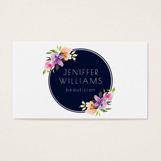 Modern Floral Bouquet Blue Circle Business Card