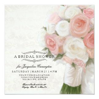 Modern Floral Bridal Shower Elegant Lace Damask 13 Cm X 13 Cm Square Invitation Card