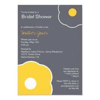 Modern Floral Bridal Shower Invitation Yellow/Gray