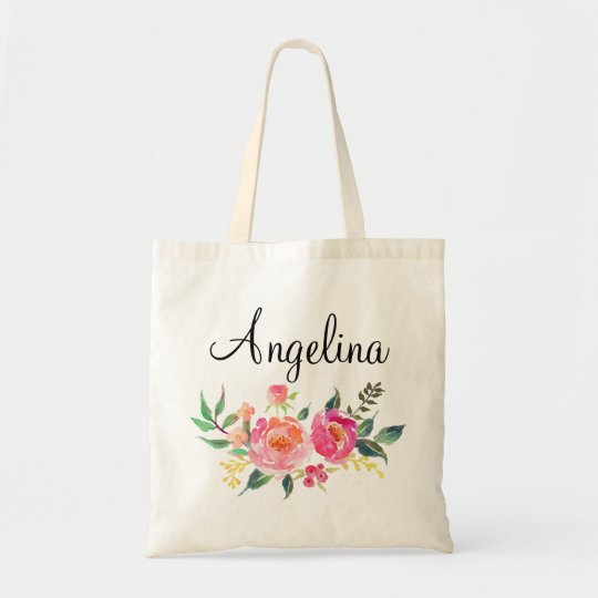 Modern Floral Bridesmaid Personalised-3 Tote Bag