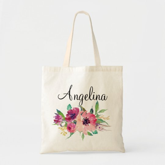 Modern Floral Bridesmaid Personalised-4 Tote Bag