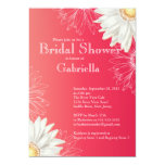 Modern Floral Bright Red Daisy Bridal Shower Custom Announcement